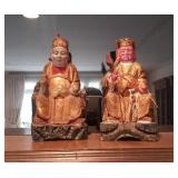 """Carved Wood 10.5"""" Chinese Figures"""