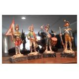 Lot Of 4 Depose Italian Marble Soldiers Statues