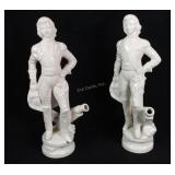 Victorian Marked Figures W/ Cannons, Made In Italy