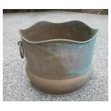 Large Solid Brass Hand Made In Italy Handled Pot