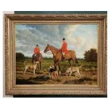 Large Oil Painting Dog Hunt By T. Fillans