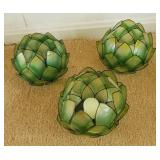 3 Small Lotus Flower Candle Holders