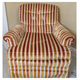 Orange Striped Upholstered Arm Chair