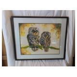 Framed Original Owls Watercolor By Paul Richards