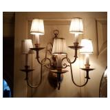 Pair Of Brass Wall Sconces W/ Shades
