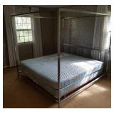 King Size Sealy Mattress / Chrome Canopy Bed Frame