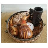 Decorative Lot: Wood Stein, Large Shell & More