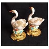 """Pair Of 8"""" Tall Mottahedeh Italy Porcelain Swans"""