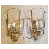 Pair Of Glass & Brass Wall Sconces