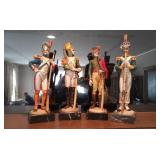 4 Depose Italian Soldier Statues On Marble Bases