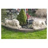 Pair Of Large Cement Lion Statues Yard Decor