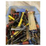 Bin Of Screwdrivers And Miscellaneous Tools