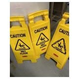 3 Wet Floor Caution Signs