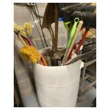 Bin Of Broom And Miscellaneous Tools