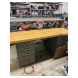 Large Metal And Wood Work Desk