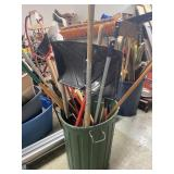 Bin Of Brooms, Shovel, And Misc. Yard Tools