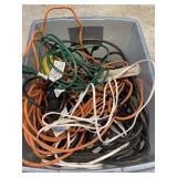 Bin Of Extension Cords And A Shop Light
