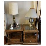 Glass Top Wood Endtables, Lamps, Bookends & More