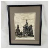 Framed Original Ink Drawing Russian Church Signed