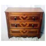 Vintage Pecan Wood 3 Drawer Dresser W Overlay