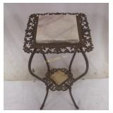 Vintage Brass & Marble 2 Shelf Plant Stand