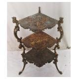 Antique Victorian Brass Cast Corner 3 Shelf Table