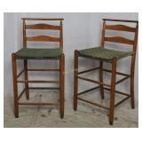 Mid Century Wood Bar Stools With Wooven Seats