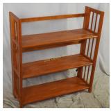 Modern Wood Folding 3 Shelf Book Case