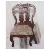 2 New Heavy Duty Carved Wood Accent Side Chairs