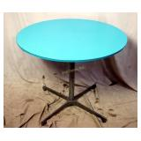 Vintage Mid Century Turquoise Dining Round Table