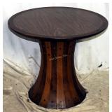 Vintage Mid Century Striped Wood Drum Table