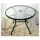 "34"" Round Green Metal Acrylic Patio Table"