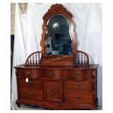 Vintage Lexington Sawed Oak Dresser & Mirror