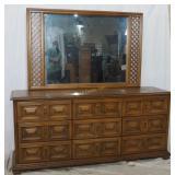 Drexel Mid Century 9 Drawer Dresser & Mirror
