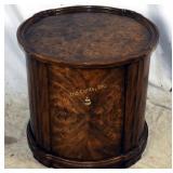 Weiman Mid Century Burled Wood Barrel Table