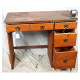 Vintage Students Pine Wood Study Desk