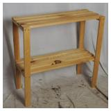 Pine Slat Wood Double Shelf Work Table