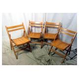 4 All Wood Slat Folding Matching Chair Set