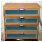 New Premium 4 Drawer Wood & Glass Dresser