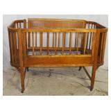 Vintage Art Deco Wood Juvenile Baby Crib