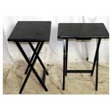 2 Solid Wood Black Folding Tv Tray Tables