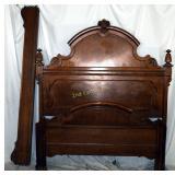 Vintage Georgian Quarter Sawed Oak Tall Bed