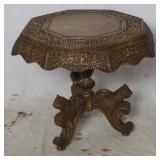 Ornate Top End Table W/ Carved Animal Figure Legs