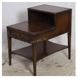 Vintage 2 Tier Leather Top End Table W 1 Drawer