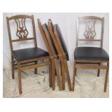4 Pc Set Vintage Folding Music Padded Chairs