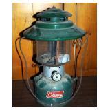 Vintage Green Coleman Double Globe Camping Lantern