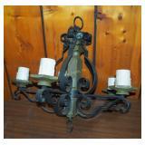 Vintage Wrought Iron Mid Century Chandelier Light