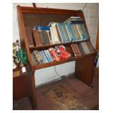 Vintage Oak Library Book Display Rack Shelf