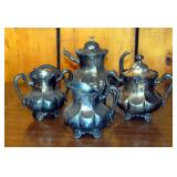 Vintage 4 Pc Meridian Silver Plate Tea Service