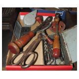 2 Wood Hand Crank Drills & Assorted Bits Box Lot